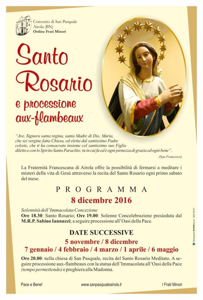 Locandina Santo Rosario e processione aux-flambeaux 2016